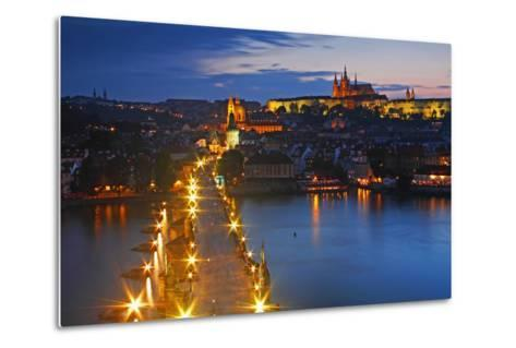 Night Lights of Charles Bridge or Karluv Most and Royal Palace on Castle Hill-Design Pics Inc-Metal Print