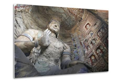 Statue and Carvings in Ancient Buddhist Temple Grotto-Design Pics Inc-Metal Print