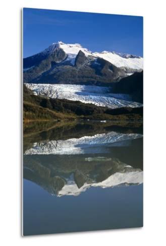 Mendenhall Glacier Reflects in its Own Lake Near Juneau-Design Pics Inc-Metal Print