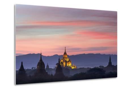 Sunset over Bagan-Jon Hicks-Metal Print