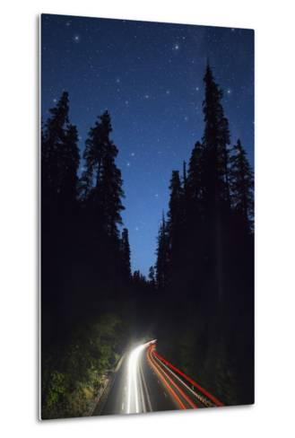Highway 101 and the Avenue of the Giants at Night.-Jon Hicks-Metal Print