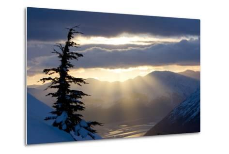 Sun Rays Shinning Through Clouds at Sunset Along Turnagain Arm W-Design Pics Inc-Metal Print