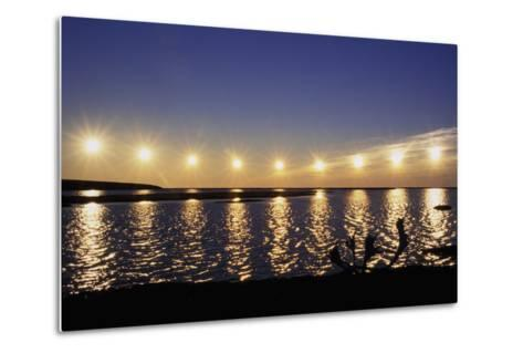 Multiple Exposure of Arctic Midnight Sun Moving across Horizon over Arctic Coast Anwr W-Design Pics Inc-Metal Print