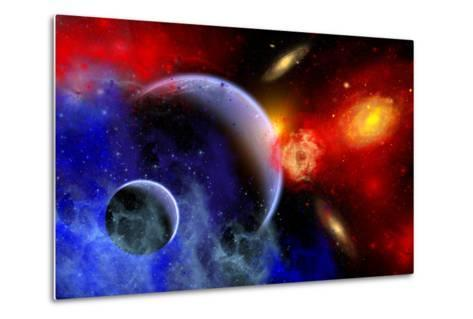 A Mixture of Colorful Stars, Planets, Nebulae and Galaxies--Metal Print