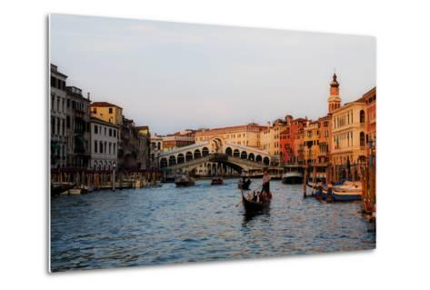 Italy, Venice, Grand Canal with View of Rialto Bridge.-Terry Eggers-Metal Print