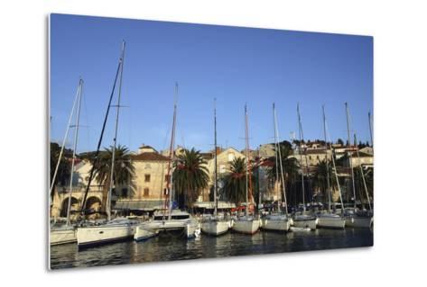 Sailboats Lined Up in Hvar Harbour-Design Pics Inc-Metal Print