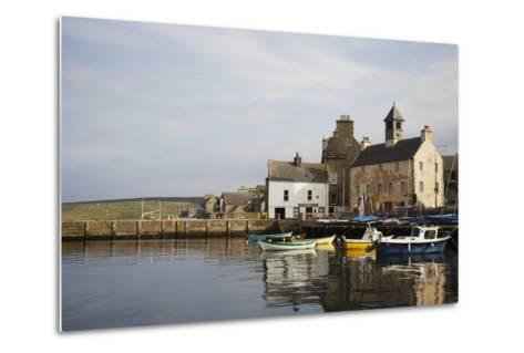 Village Houses and Boats in Harbor-Design Pics Inc-Metal Print