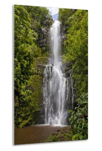 Hawaii, Maui, Wailua Falls, Large Falls with Lush Foliage-Design Pics Inc-Metal Print