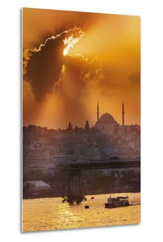 Sunset over the Bosphorus Strait.-Jon Hicks-Metal Print