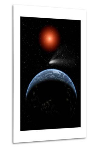 A Comet Passing the Earth on its Return Journey from around the Sun--Metal Print