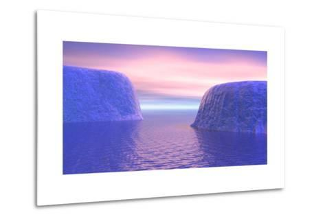 Two Icebergs Face to Face in the Ocean with Pink and Violet Sunrise--Metal Print