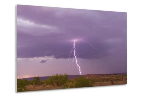 Intense Purple Lightning Bolts Strike in the Desert of New Mexico-Mike Theiss-Metal Print