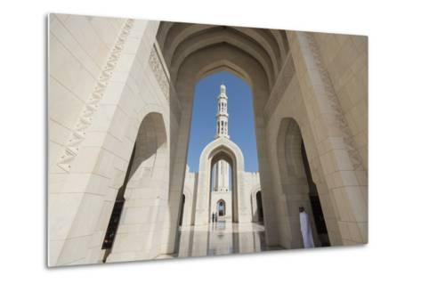 The Three Arches That Comprise the Main Entrance to the Sultan Qaboos Grand Mosque-Michael Melford-Metal Print