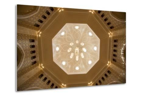 A View of a Chandelier Hanging from a Dome Inside the Sultan Qaboos Grand Mosque-Michael Melford-Metal Print