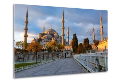 Blue Mosque, Istambul into Sunrise Lights-David Ionut-Metal Print