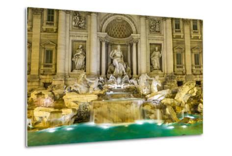 Neptune Statue of the Trevi Fountain in Rome Italy-David Ionut-Metal Print