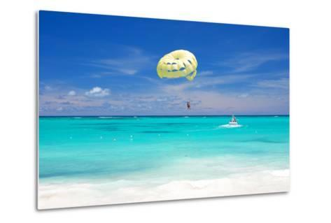 Beautiful Caribbean Beach in Dominican Republic. Unrecognizable People.-haveseen-Metal Print