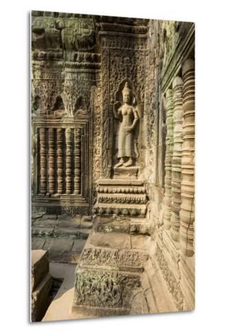 Stone Carvings of Apsara at Angkor Wat, Cambodia-Paul Souders-Metal Print