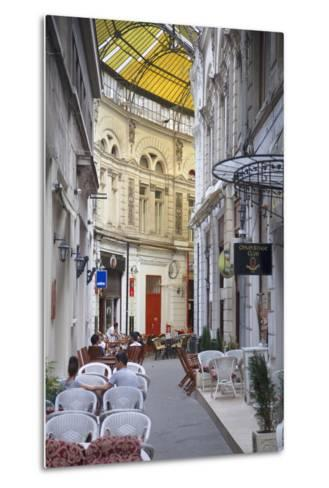 People at Cafes in Macca-Villacrosse Passage, Bucharest, Romania, Europe-Ian Trower-Metal Print