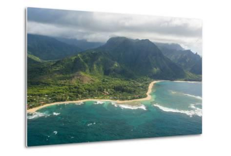 Aerial of the North Shore of the Island of Kauai, Hawaii, United States of America, Pacific-Michael Runkel-Metal Print