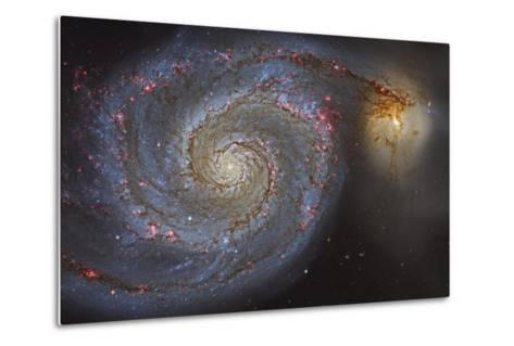 The Whirlpool Galaxy and its Companion Galaxy--Metal Print
