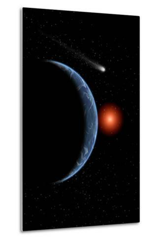 A Comet Passing the Earth on its Journey around the Sun--Metal Print