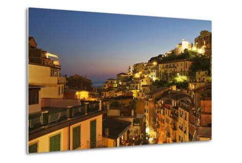 Riomaggiore Rooftops and the Castle at Dusk-Mark Sunderland-Metal Print