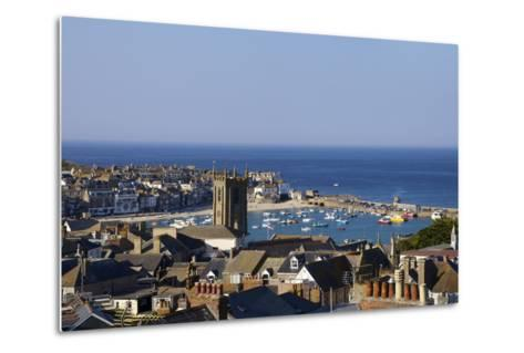 Panoramic Photo of St. Ives Church and Old Harbour-Peter Barritt-Metal Print