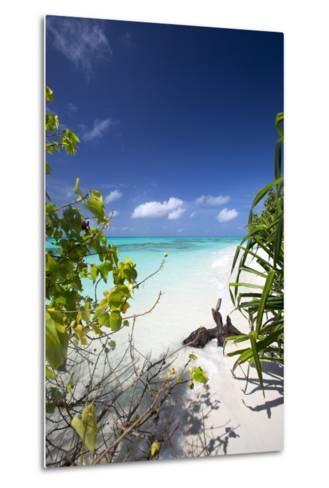 Beach on Desert Island, Maldives, Indian Ocean, Asia-Sakis Papadopoulos-Metal Print