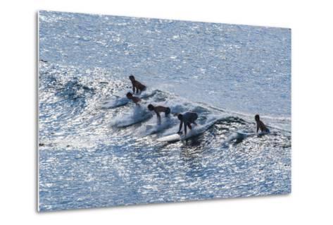 Surfers at the Hookipa Beach Park, Paai, Maui, Hawaii, United States of America, Pacific-Michael Runkel-Metal Print