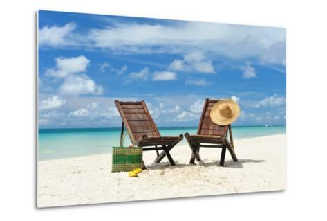 Beautiful Beach with Chaise Lounge-haveseen-Metal Print