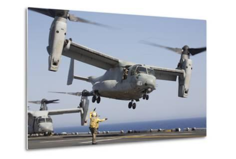 An MV-22 Osprey Takes Off from the Amphibious Assault Ship USS Kearsarge--Metal Print