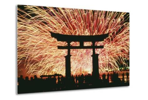 Summer Fireworks at Itsukushima Shrine-Design Pics Inc-Metal Print