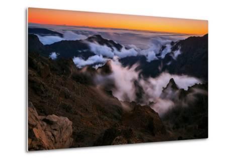 Clouds Roll over the Peaks at Caldera De Taburiente at Sunset-Babak Tafreshi-Metal Print