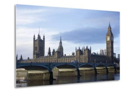 The Parliament Square and the Thames in London-Design Pics Inc-Metal Print