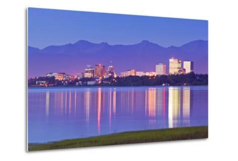 View of Downtown Anchorage Skyline across Knik Arm with Reflection at Sunset Southcentral Alaska Su-Design Pics Inc-Metal Print