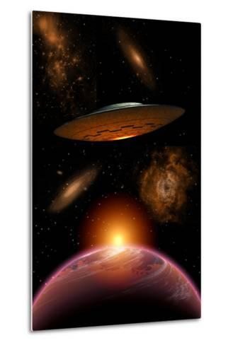 A Ufo on its Journey Through the Vastness of Our Galaxy--Metal Print