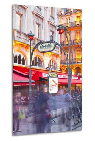 Crowds of People Rushing Through the Entrance to a Metro Station in Paris, France, Europe-Julian Elliott-Metal Print
