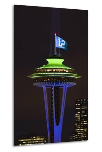 Space Needle with Seahawk colors and 12th man flag. Washington, USA-Jamie & Judy Wild-Metal Print