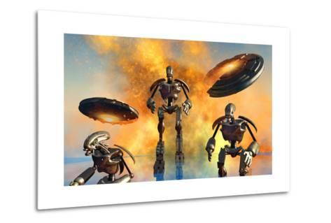 A Giant Robot Force on the Attack--Metal Print