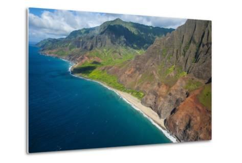 Aerial of the Rugged Napali Coast, Kauai, Hawaii, United States of America, Pacific-Michael Runkel-Metal Print