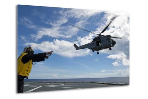 A French Armee De Terre Sa 380 Puma Helicopter Taking Off--Metal Print