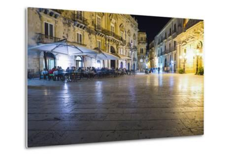 Tourists Eating at a Restaurant in Piazza Duomo at Night-Matthew Williams-Ellis-Metal Print