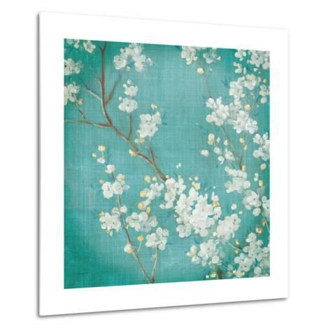White Cherry Blossoms II on Blue Aged No Bird-Danhui Nai-Metal Print