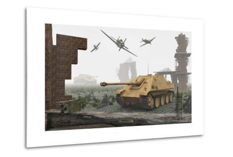 American P-47 Fighter Planes Attacking German Jagdpanther Tanks--Metal Print