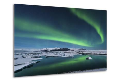 The Northern Lights Dance over the Glacier Lagoon in Iceland--Metal Print