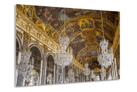 The Hall of Mirrors, Chateau de Versailles, France.-Brian Jannsen-Metal Print