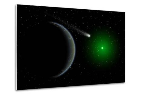 A Comet Passing a Distant Alien World--Metal Print