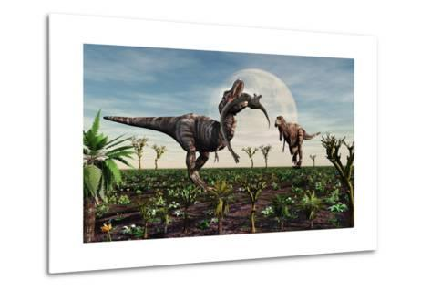 Tyrannosaurus Rex with a Freshly Killed Young Sauropod Dinosaur--Metal Print