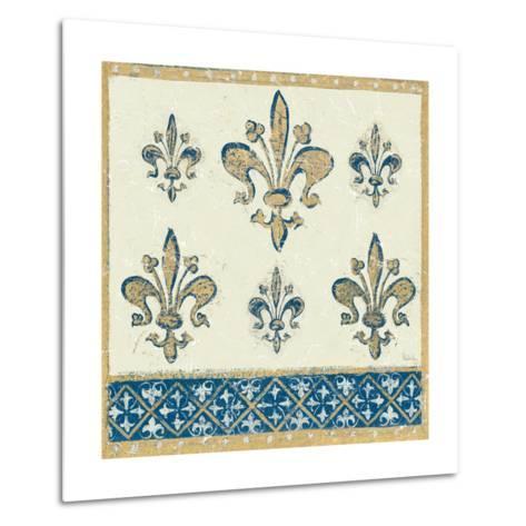 Regal Fleur de Lis Indigo and Cream-Designs Meloushka-Metal Print